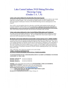 Lake Central Hitting/Driveline Throwing Camp Flier