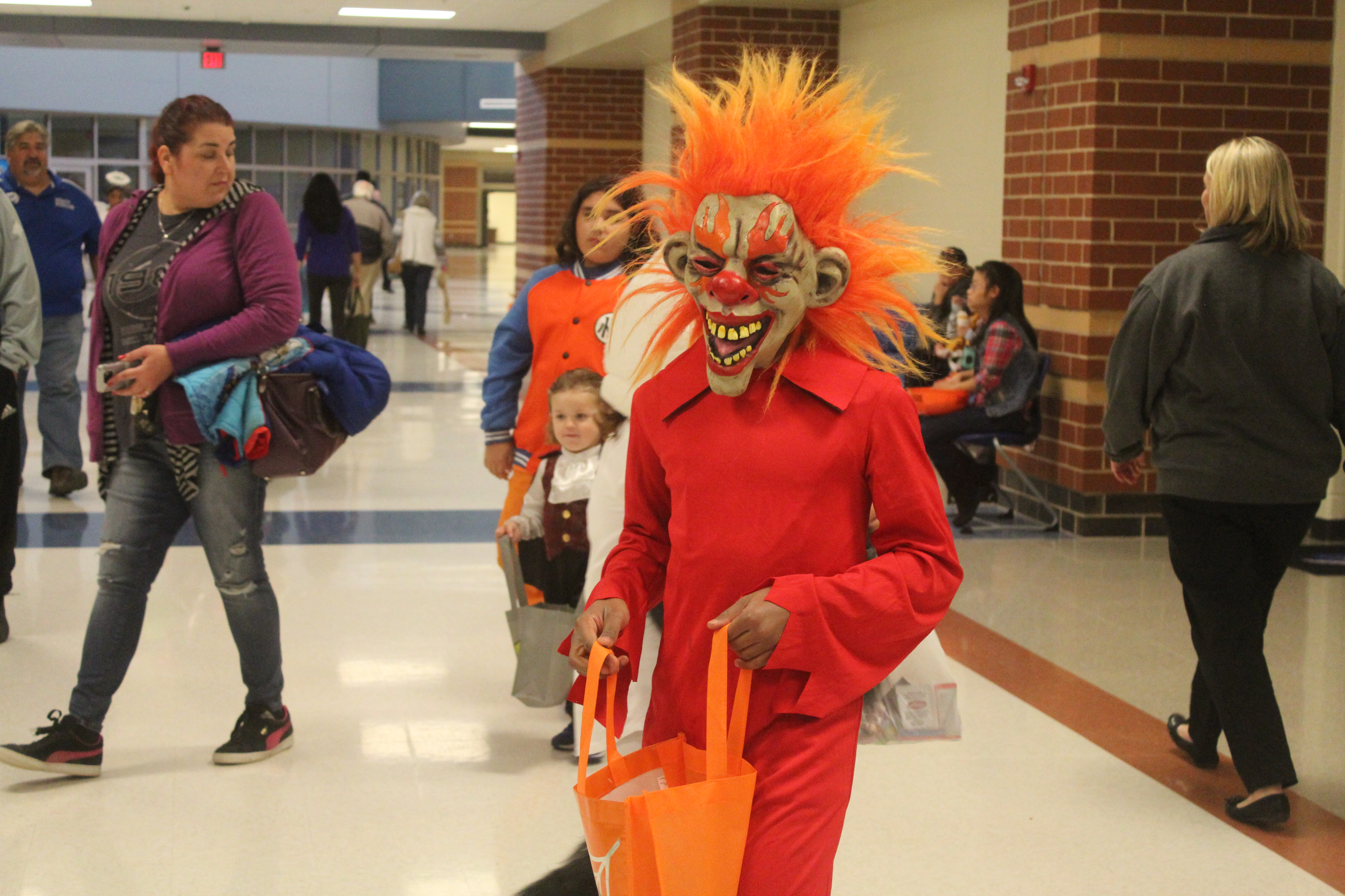 A student is dressed as a scary monster
