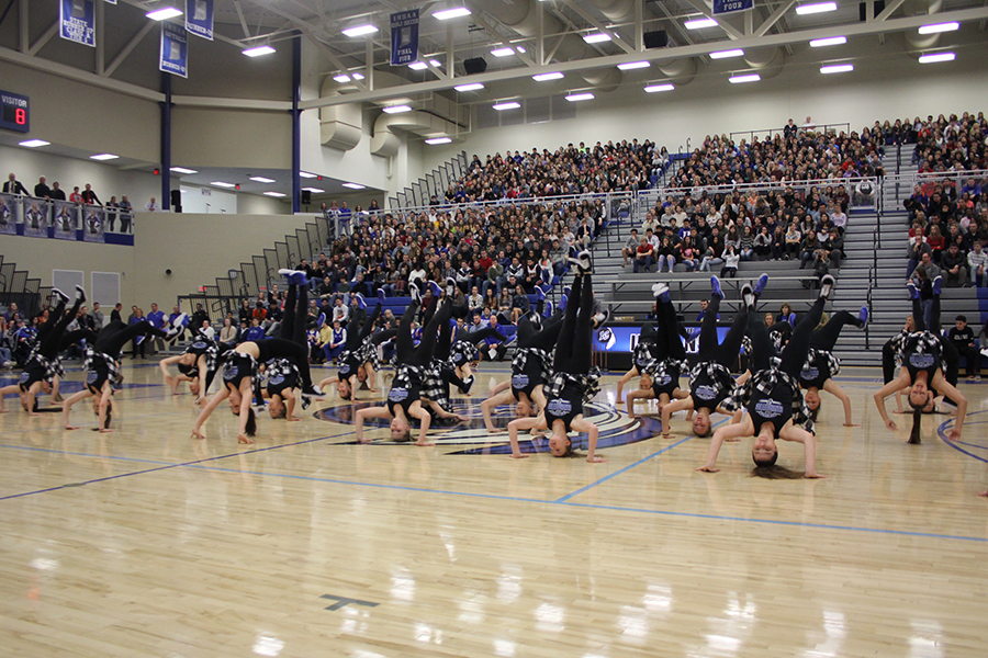 Dance teams dances to a new song