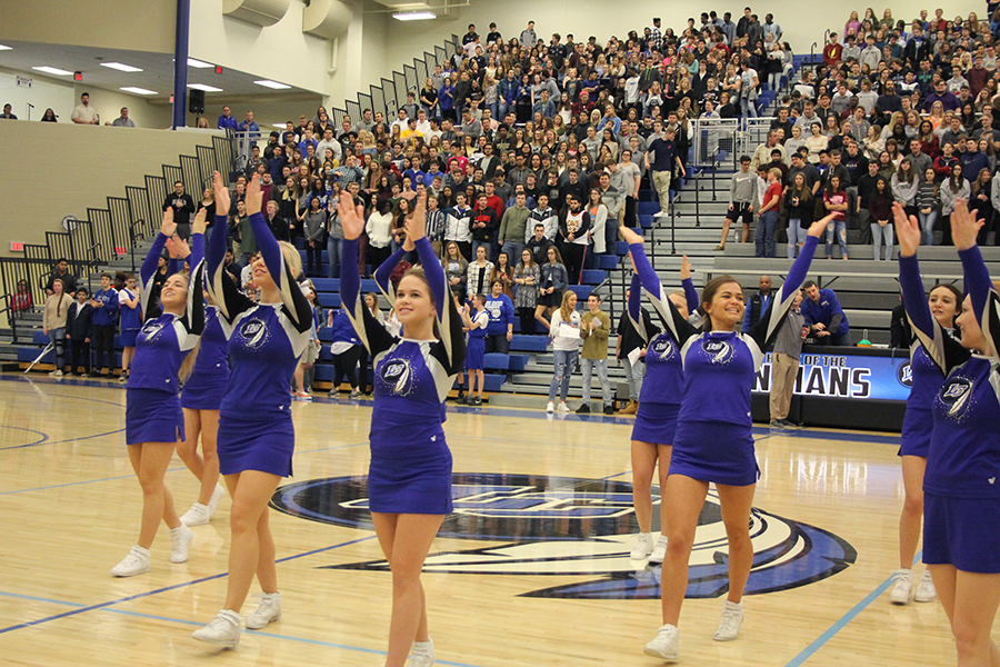 Lake Central cheerleaders dance to fight song