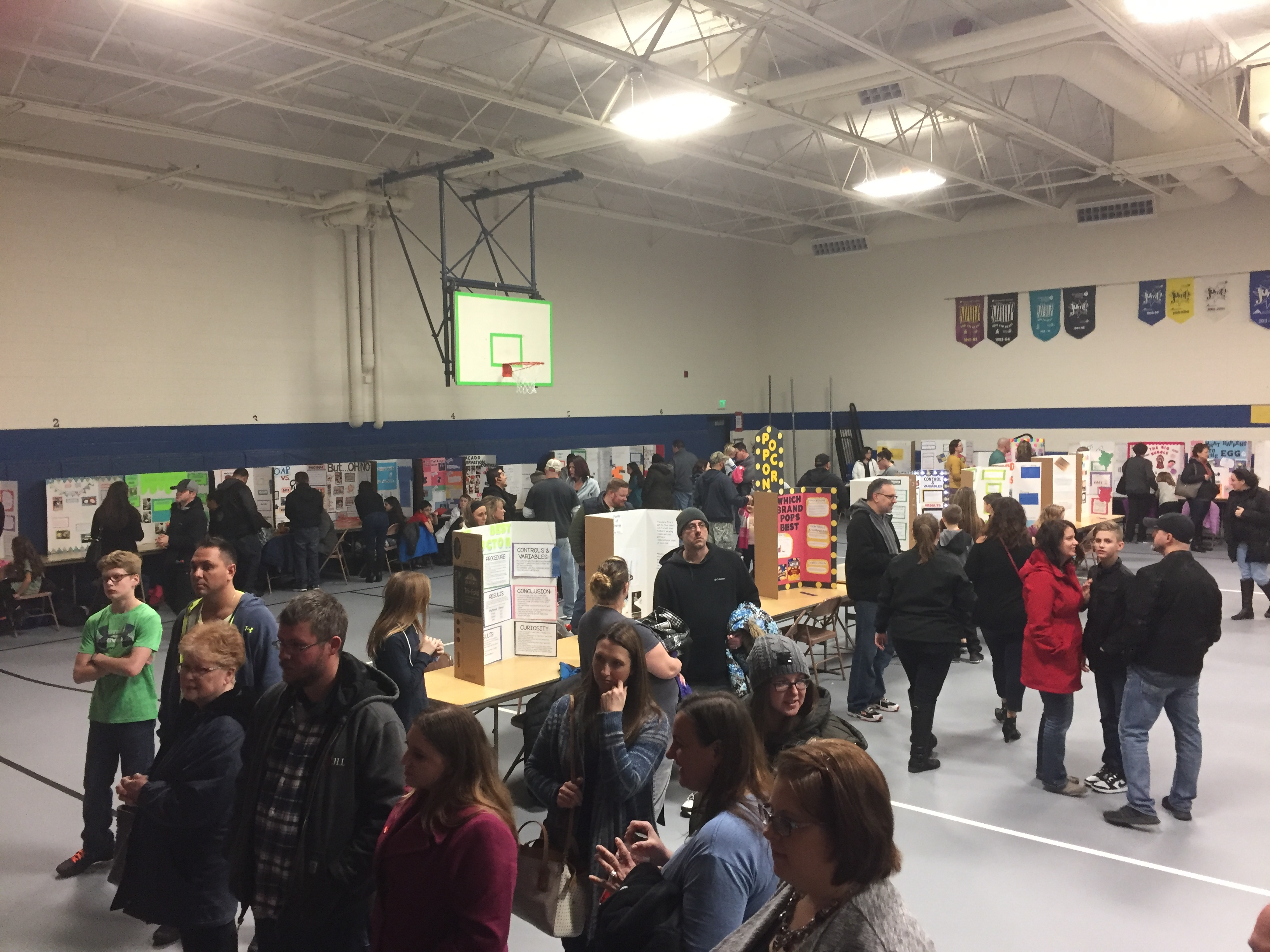 Peifer's gym was packed with students and the community for its annual Science Display Evening.