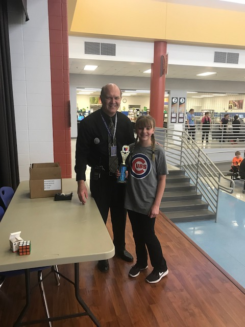 Congrats to Joelle Serbenta—Champion and Andrew Kuypers -Runner up in the 5th Grade Rubik's Cube Challenge!