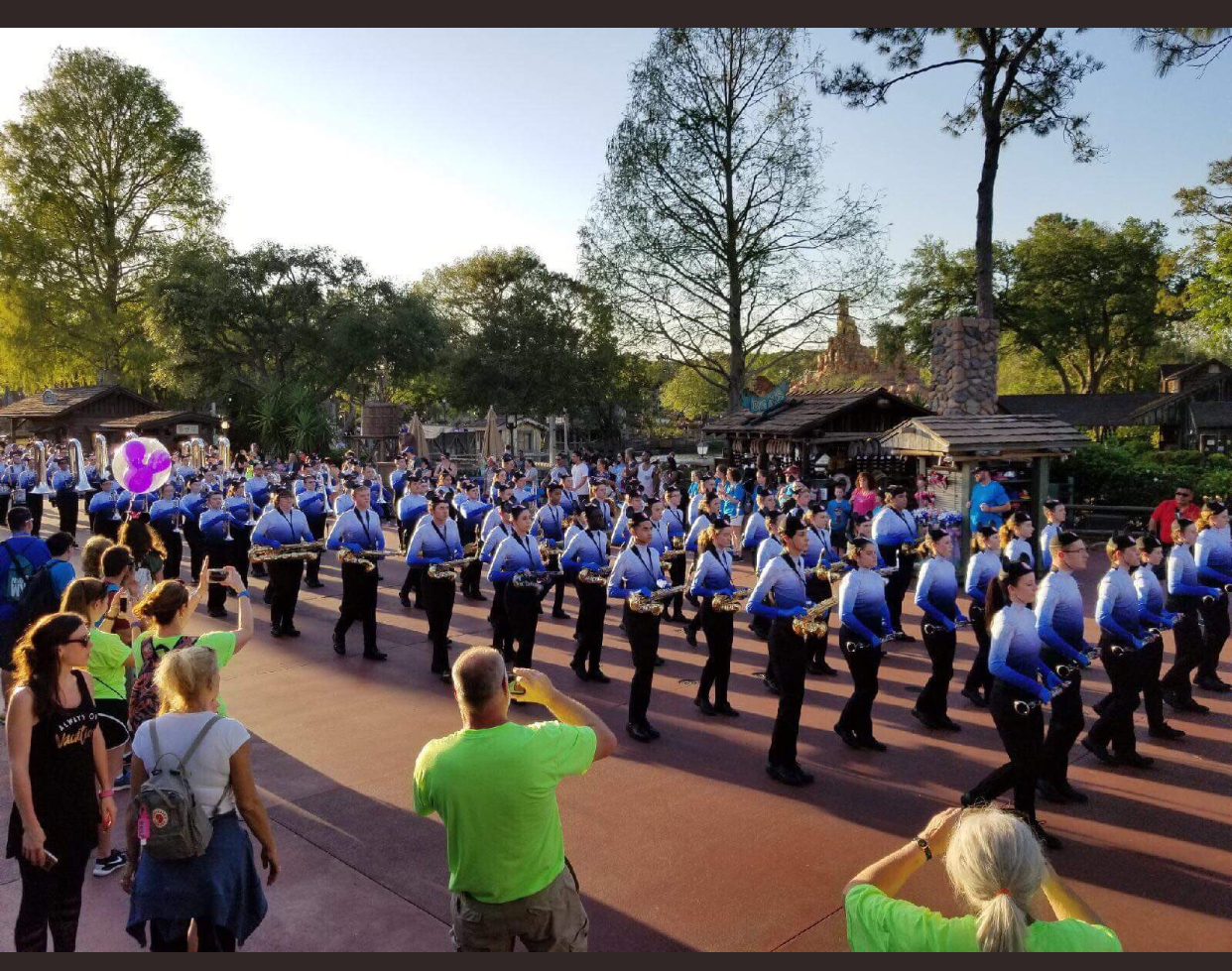 The Lake Central Marching band marches in Disney.