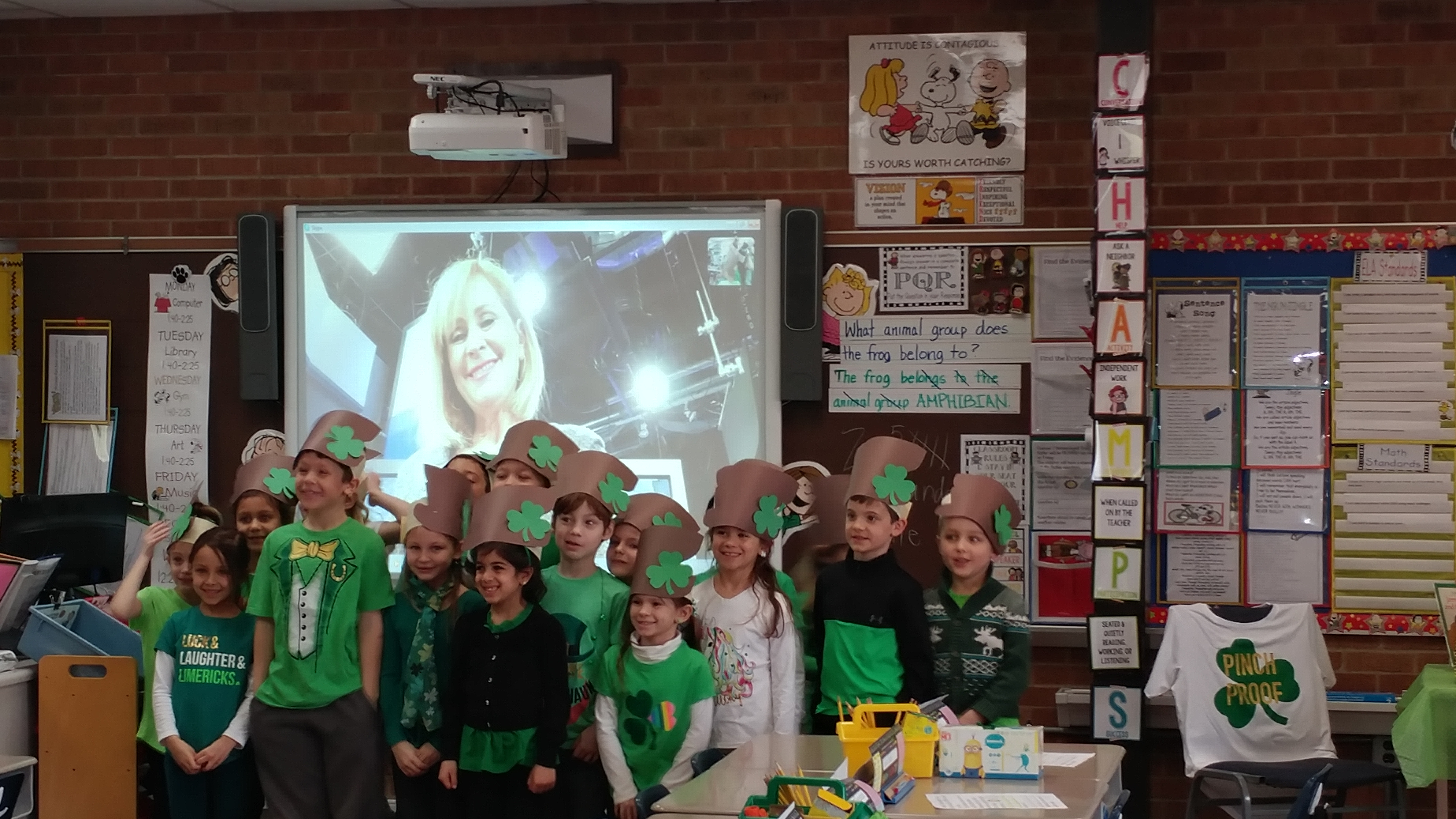 Kolling Elementary School Teacher Cheryl Bussey and her first grade class on Skype with Meteorologist Tracey Butler from ABC 7 News.