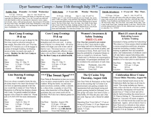 Dyer Parks and Rec Summer Camps