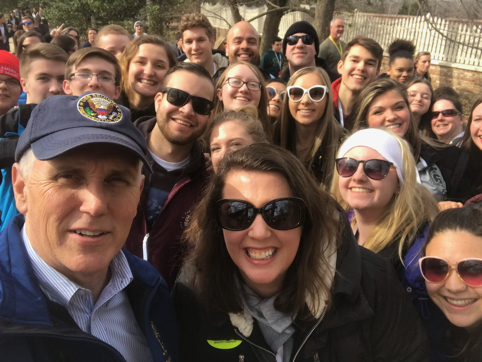 Mrs. Kuhlenschmidt and Mr. J. Clark took a group of high school students to Washington D.C. and New York City over Spring Break, where among other things, they ran into the current Vice President of the United States Mike Pence.