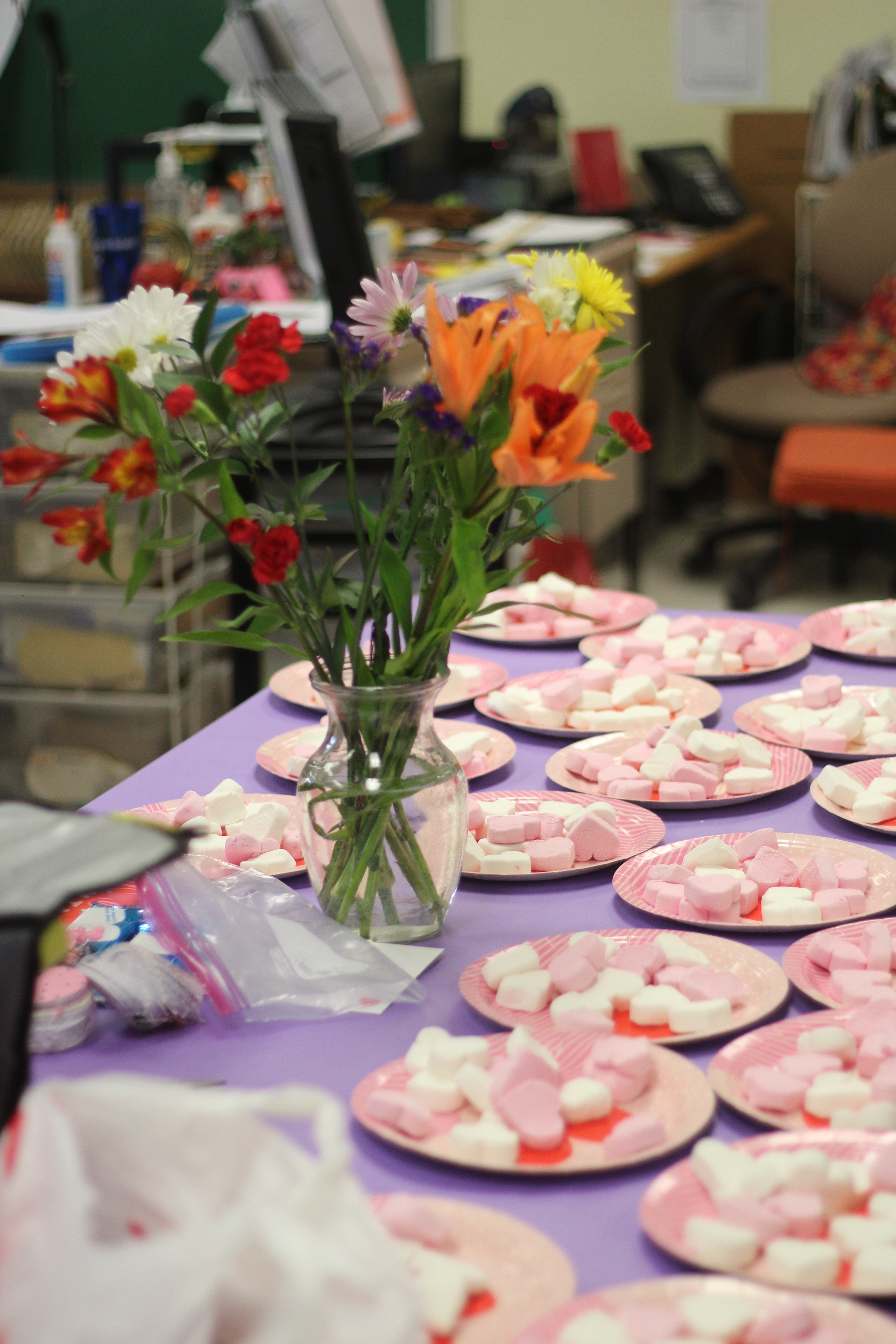 Food sits on a table for Vanlentines Day