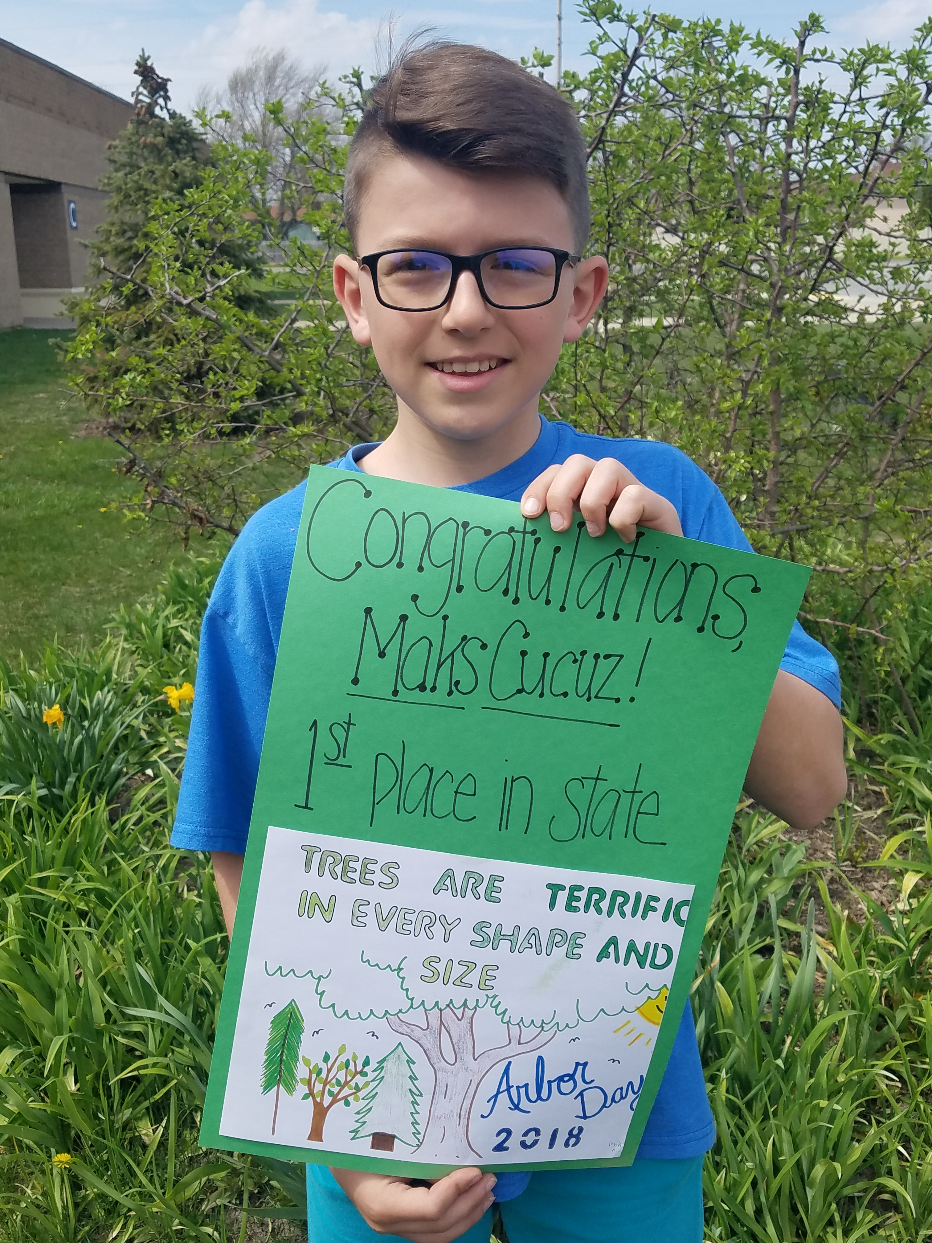 Maks Cucuz, grade 5 Grimmer MS, took first place for his design in the Indiana Division of Forestry Arbor Day Poster contest. Congratulations Maks!