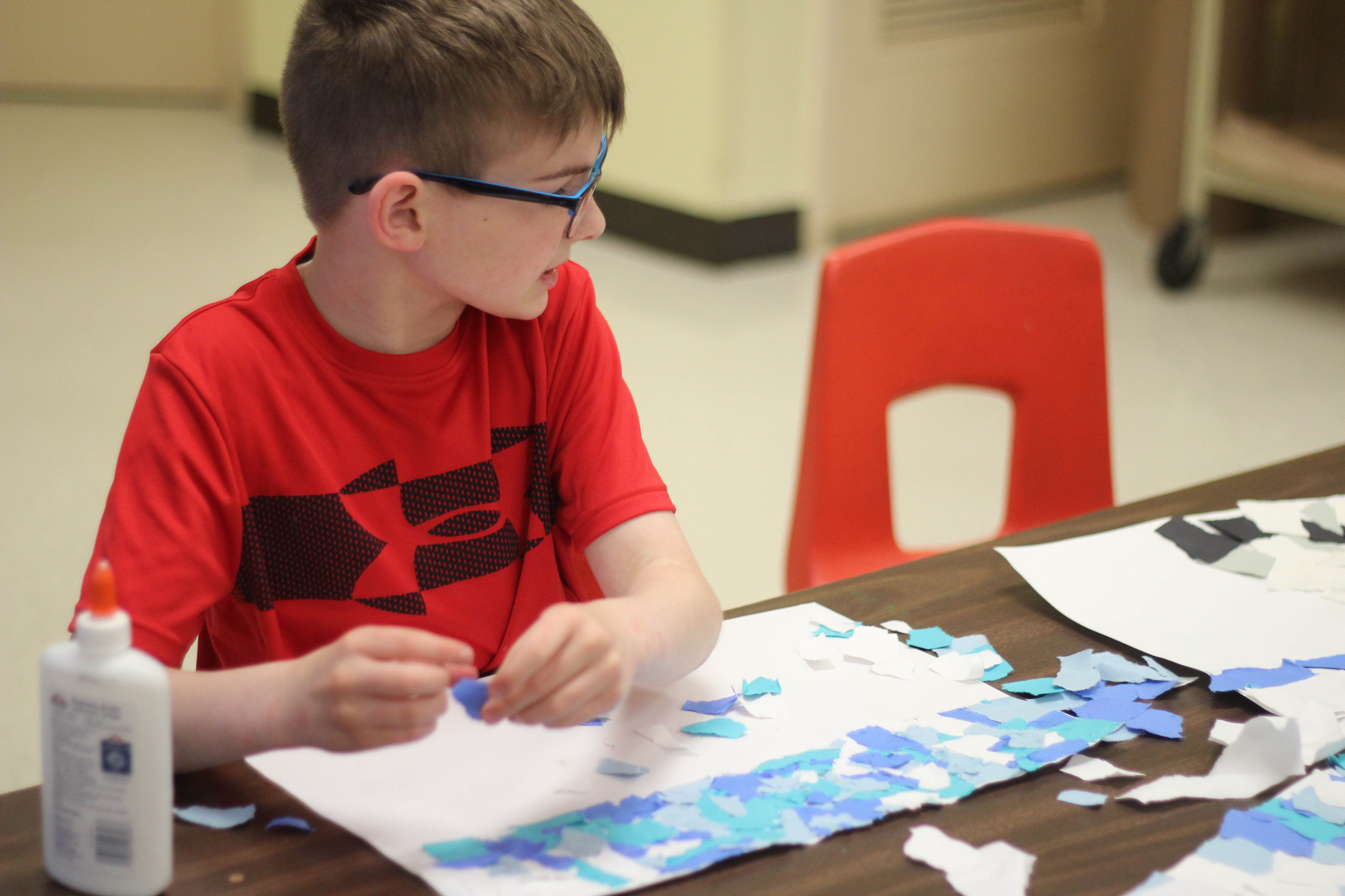 A student works on their art project.