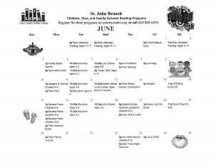 St. John Public Library Summer Calendar