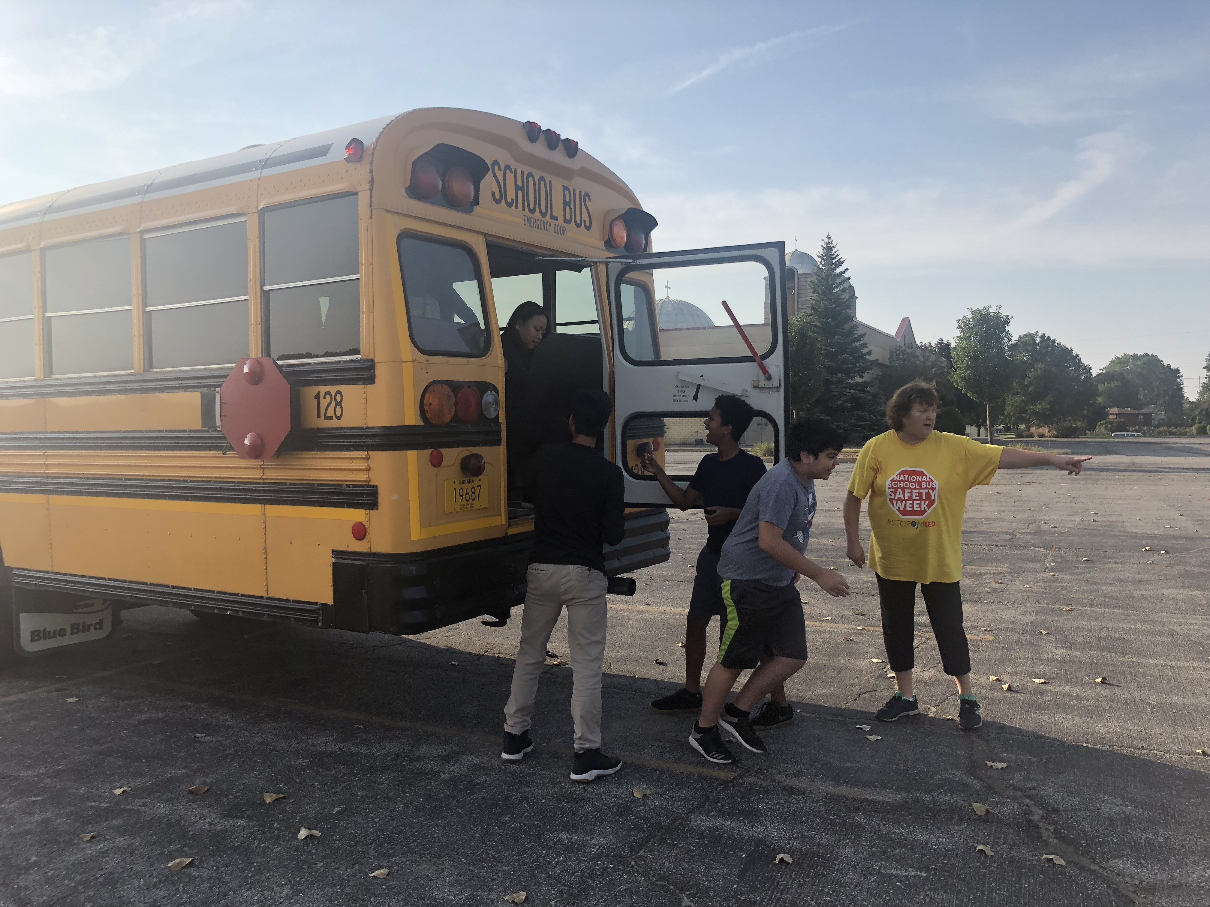 Bus 128 (Ms. Anne) and her Grimmer students conduct a successful practice bus evacuation. Great job to all drivers and aides for keeping our students safe!!