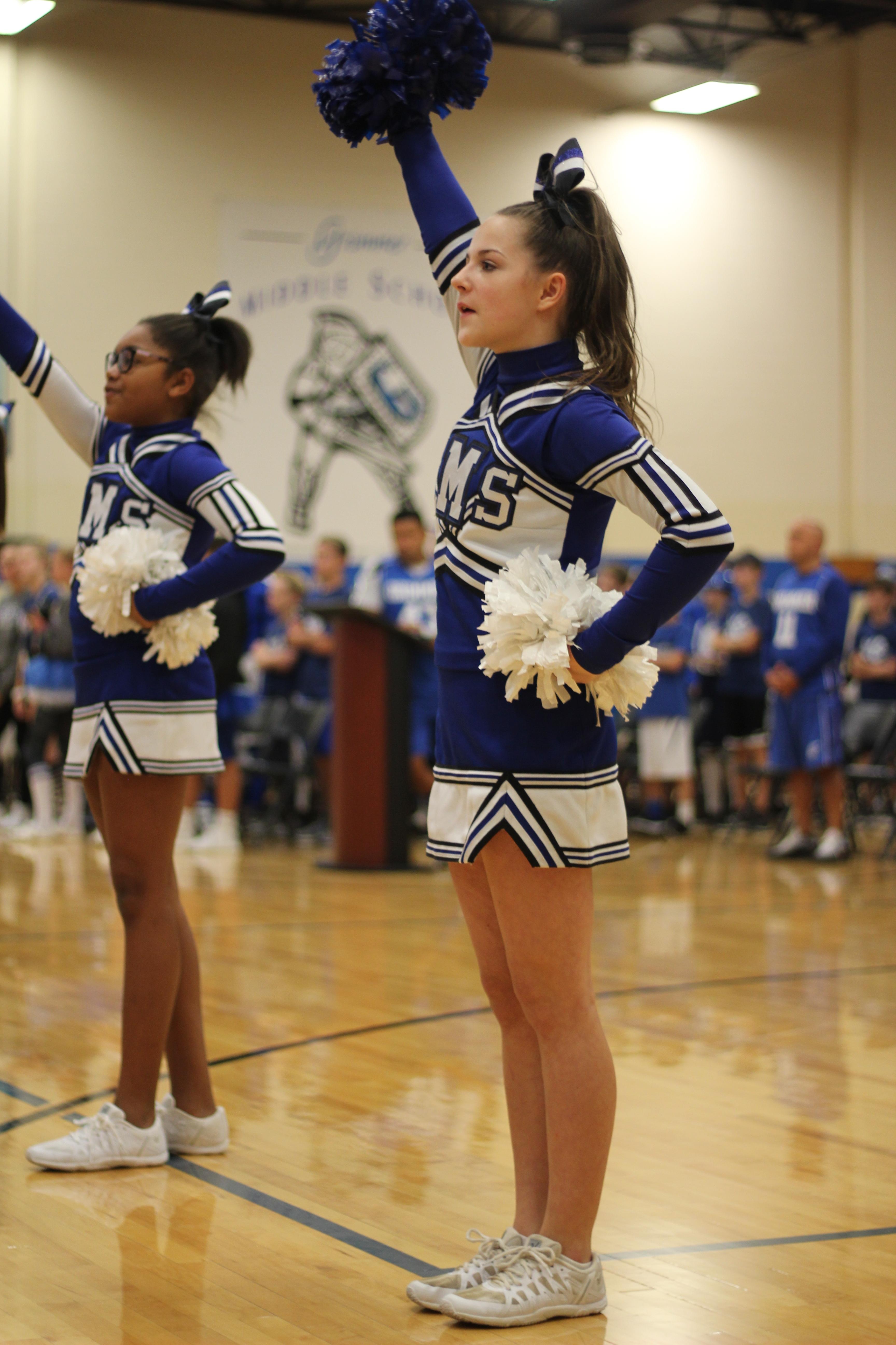 Cheerleader preforms at pep rally