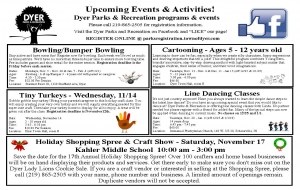 Dyer Parks and Rec Fall and Winter Events Flyer