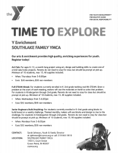 YMCA Time to Explore Flyer