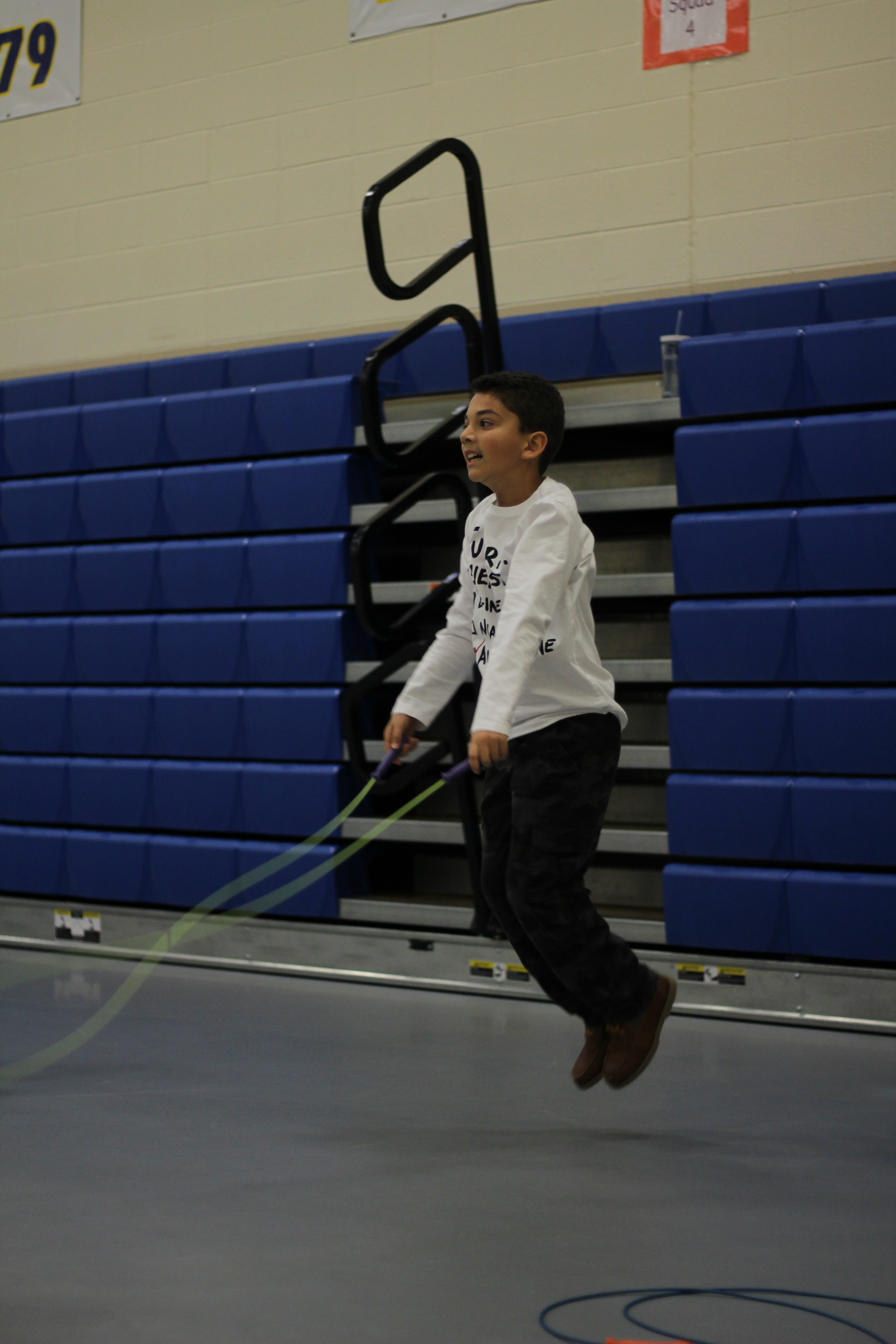 A student jumps rope