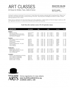 Southshore Arts Winter Classes Flyer