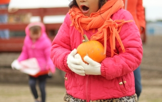Student gasps while looking at pumpkins