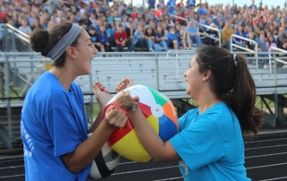 Two students have fun at the pep rally.