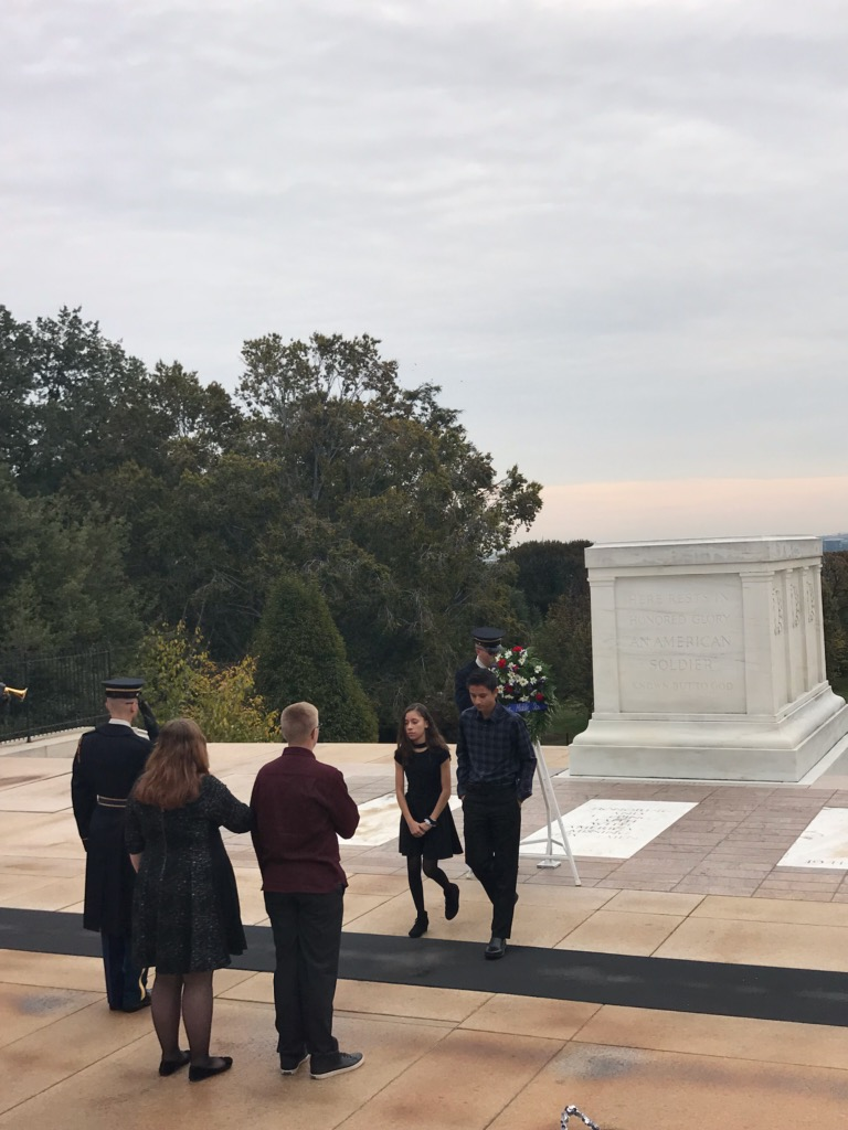 Kahler Middle School had 77 8th graders attend the annual Washington, D.C. trip this Fall Break. Students Lauren Fischer, Jack Correa, Nyah Gomez, and Zachary Fliszar-Tatgenhorst had the honor of representing Kahler in the Wreath Laying Ceremony at Tomb of the Unknown Soldier at Arlington National Cemetary.