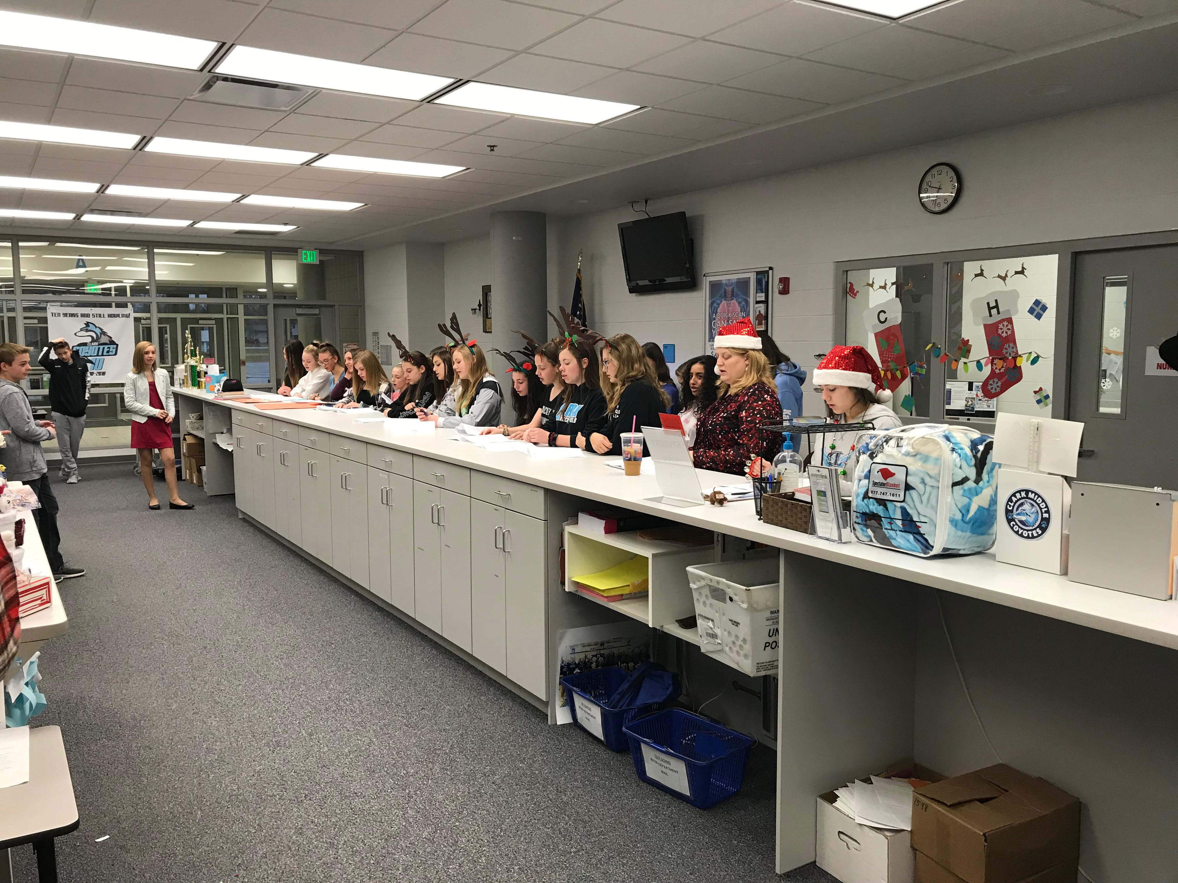 Clark Middle School students spreading holiday cheer!