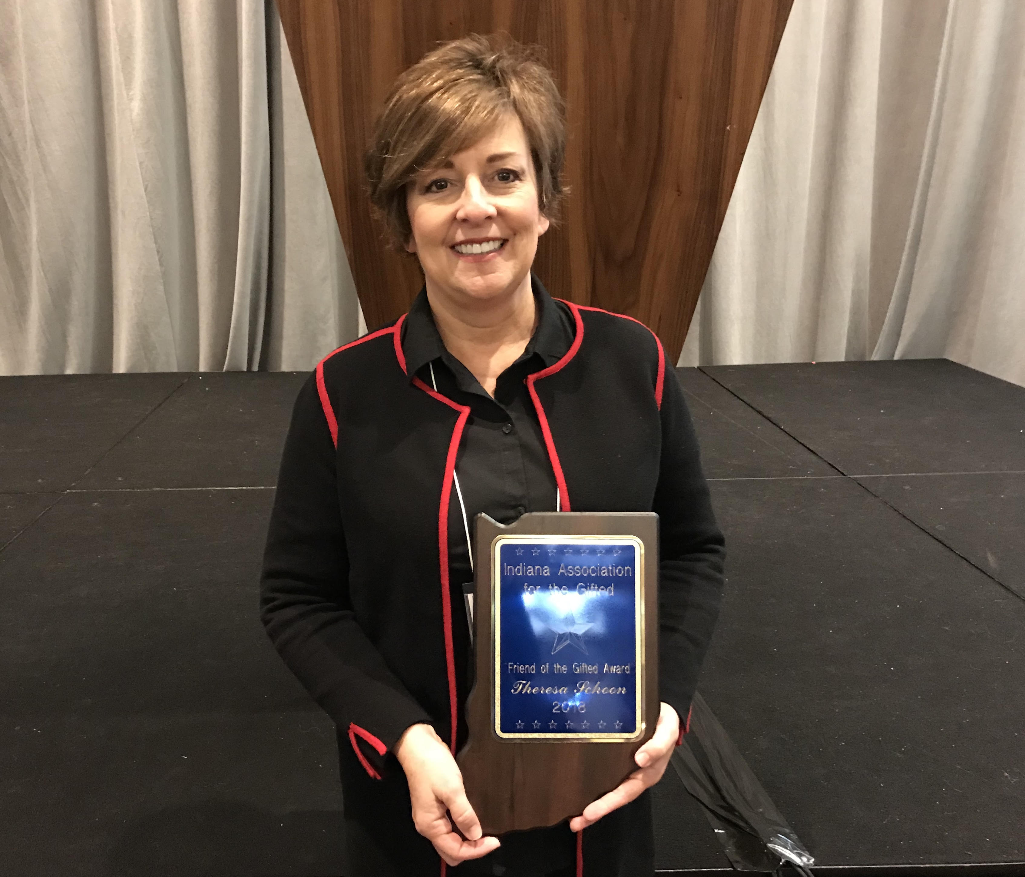 Congratulations to Theresa Schoon, Director of Primary Education, who was recently honored with the 2018 Friend of the Gifted Award from the Indiana Association of the Gifted. The award was given for her dedication to the field of gifted education and the significant improvements she has made to the high ability program here at Lake Central.