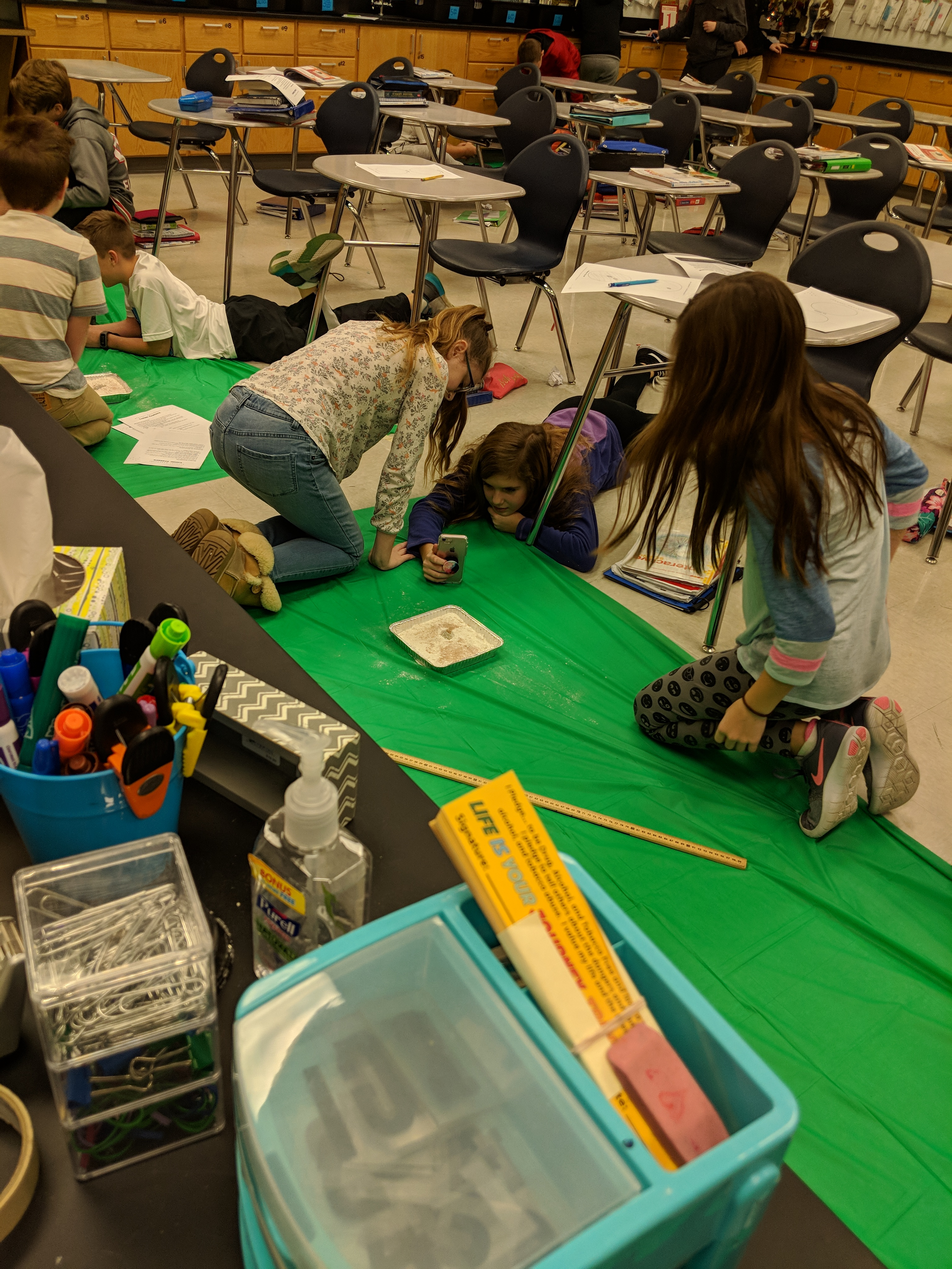 Students in Mrs. Jeffress's 6th grade science class participated in a moon crater lab on January 18, 2019.