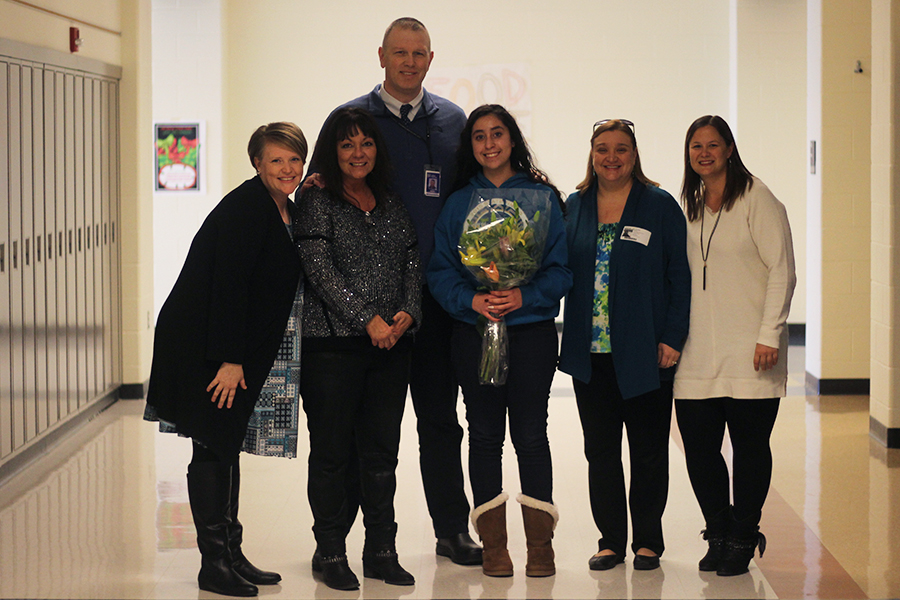Alyssa Arreola was recently presented with official notification that she has been awarded a LIlly Scholarship! Pictured are: Nicole Raber, Robin May, Sean Begley, Alyssa Arreola, Jodi Kateiva, and Brynn Denton