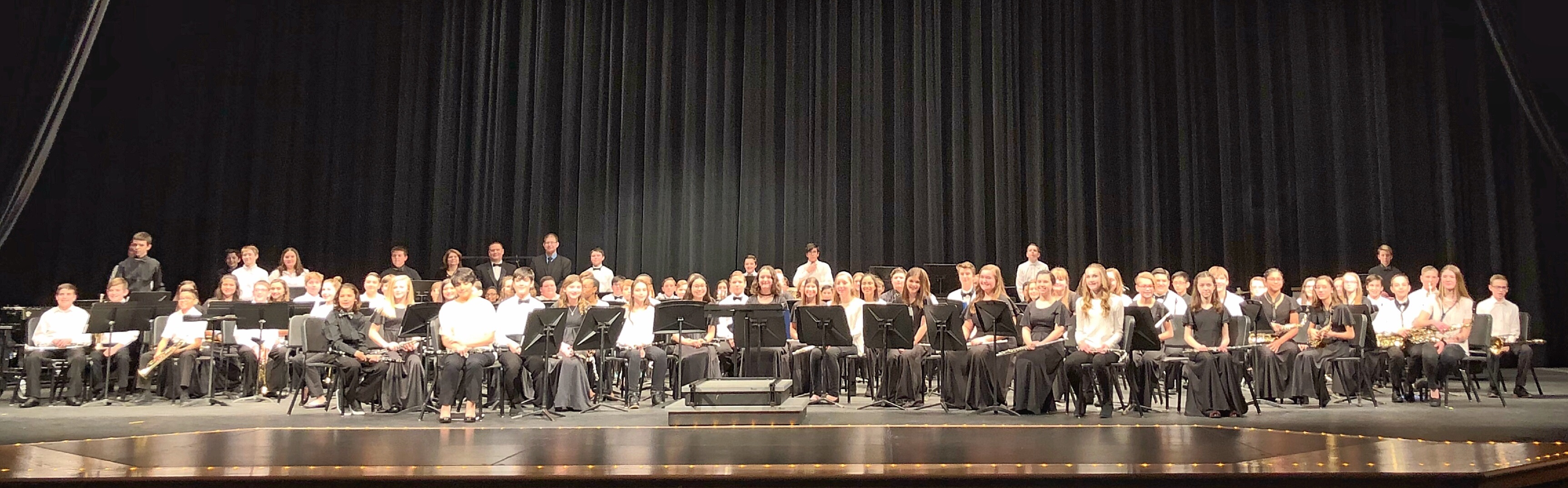 The middle school honor band under the direction of Mr. Walton, Mr. Lewis and Mrs. Lopez entertained the crowd with 6 energetic numbers on January 19, 2019.