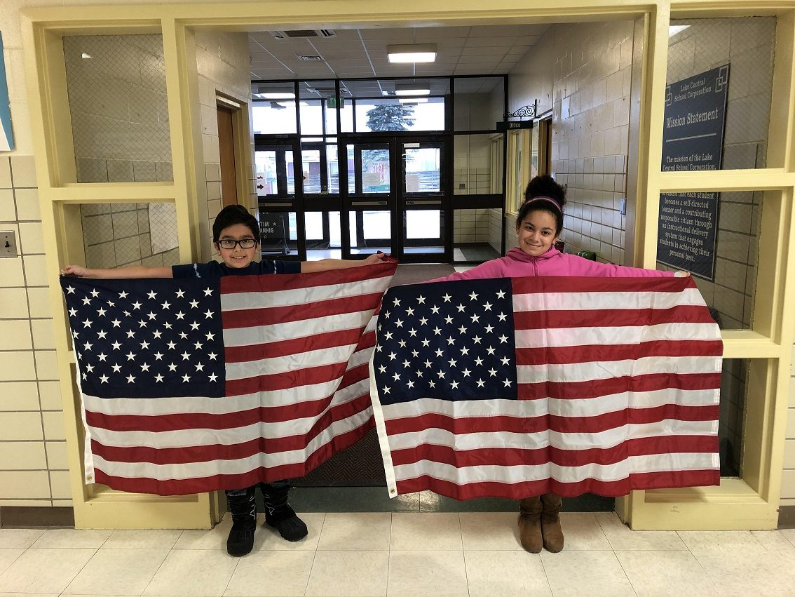 Fourth graders, Max Vargas and Cheyenne Moseley, were the top honorees for Peifer's flag education. These flags were flown over the U.S. Capitol in honor of them, and then passed along for them to keep.