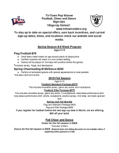 Tri-Town Raider Registration Flyer