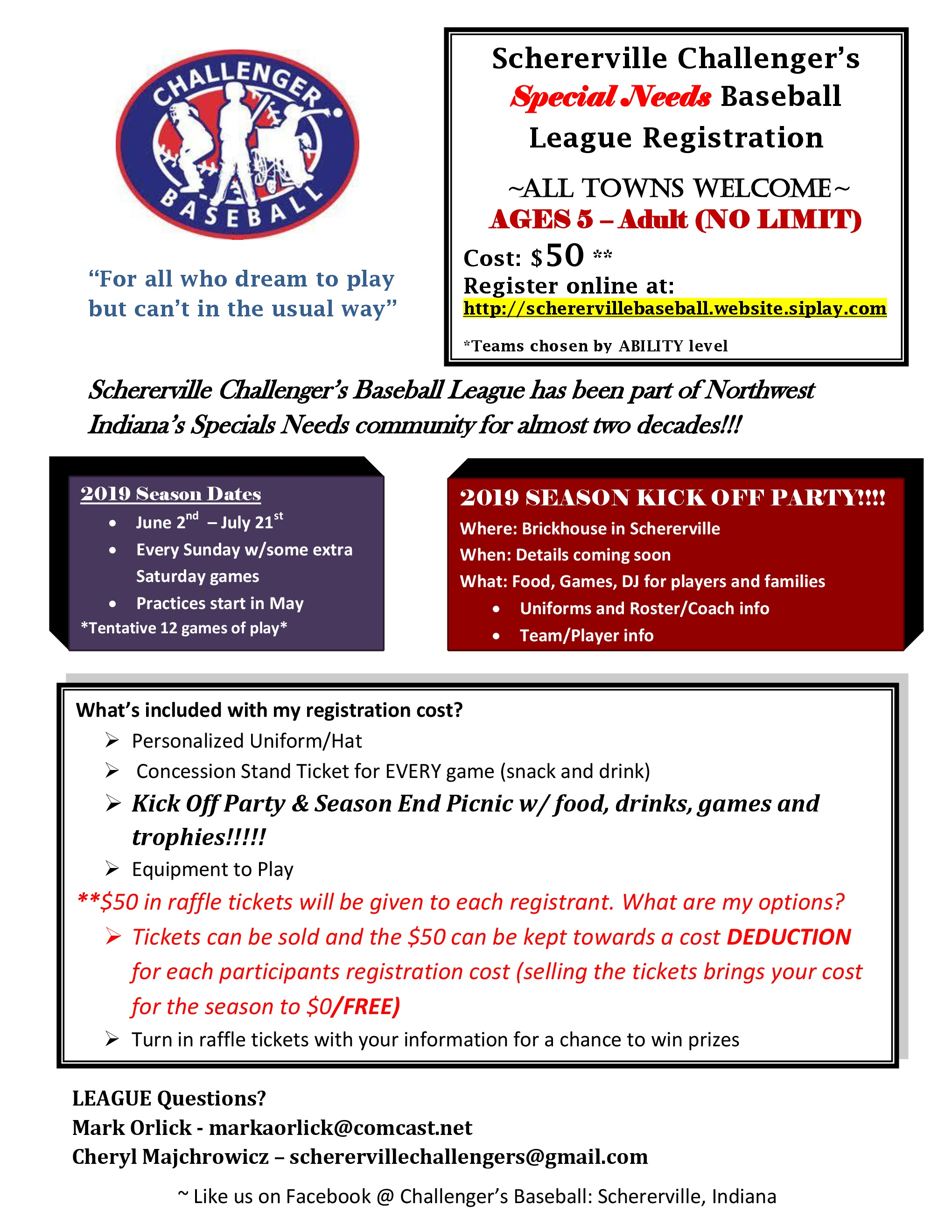 Schererville Challenger Baseball Registration Flyer
