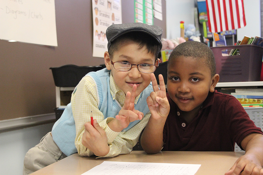 Students celebrate the 100th day of school.
