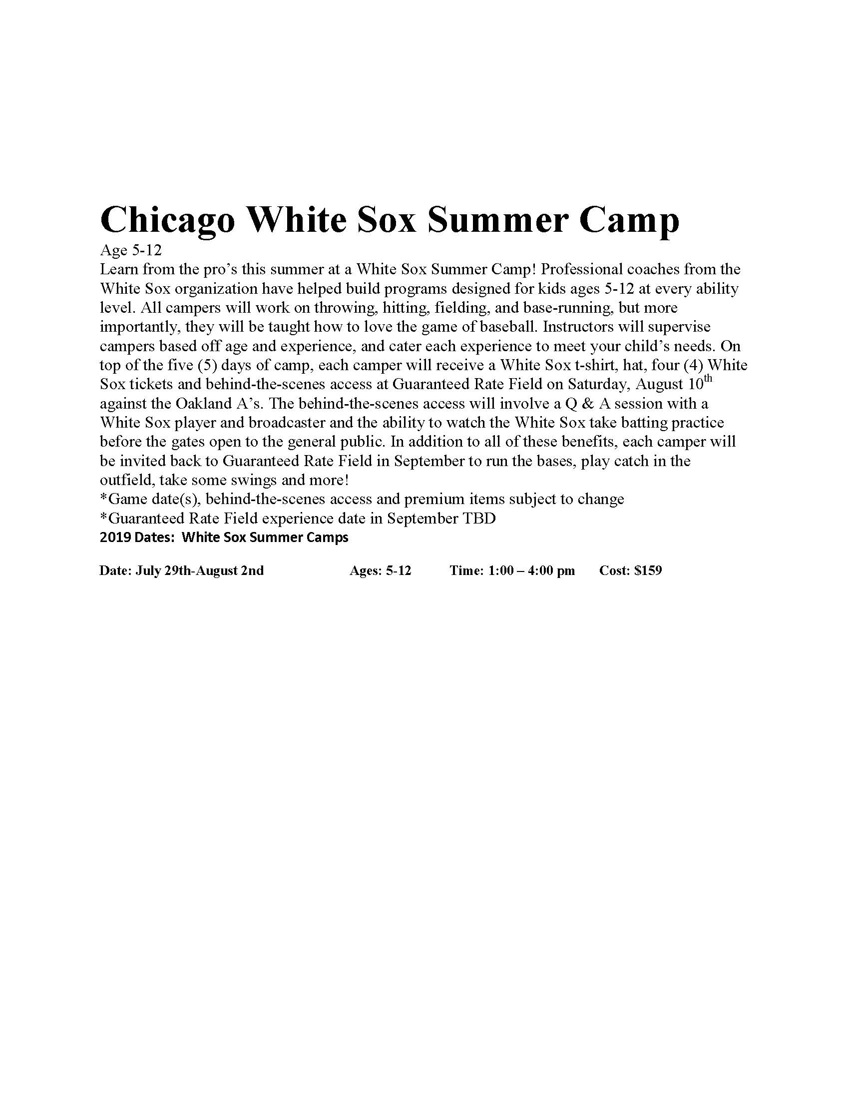 Chicago White Sox Summer Camp Flyer