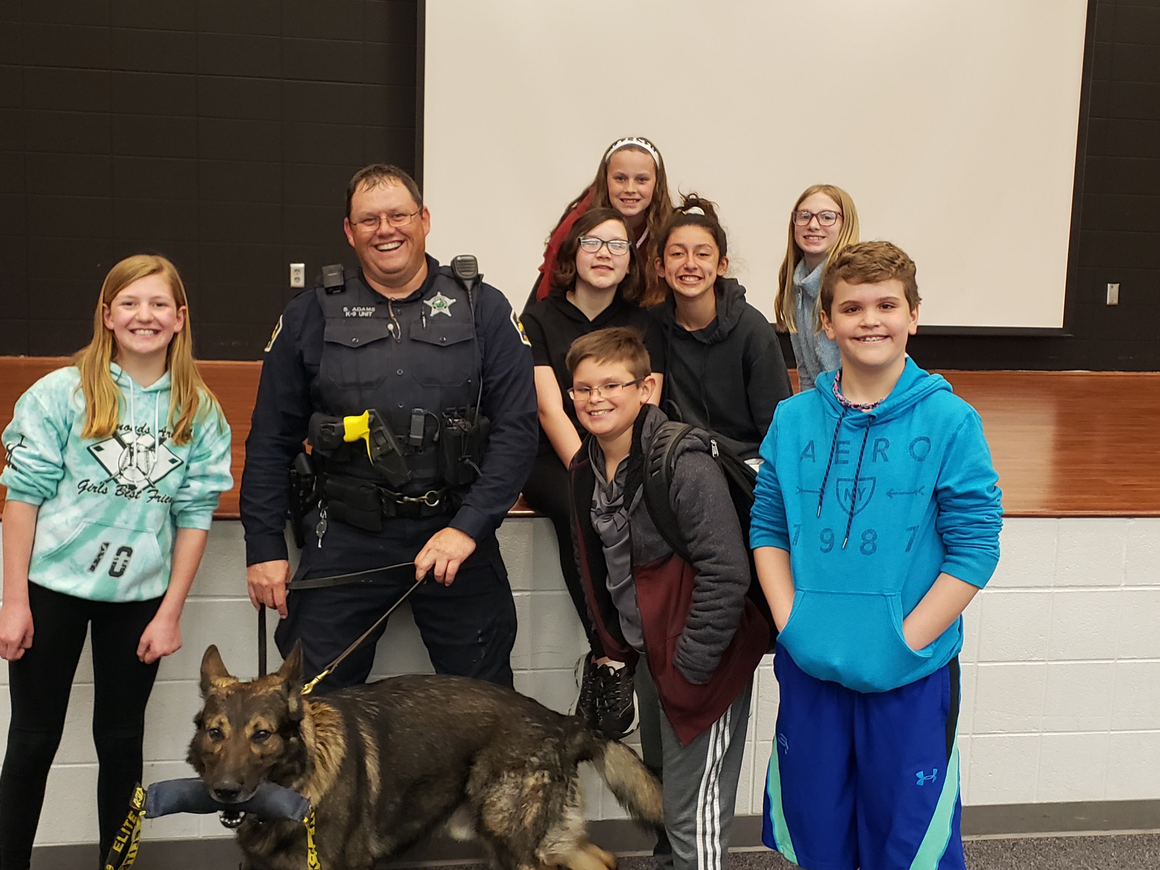 Clark's Paws for A Cause hosted an event 4/29/19. St. John Officer Shane Adams conducted several search demonstrations with the student's assistance as well as educated club members about the K-9 program.