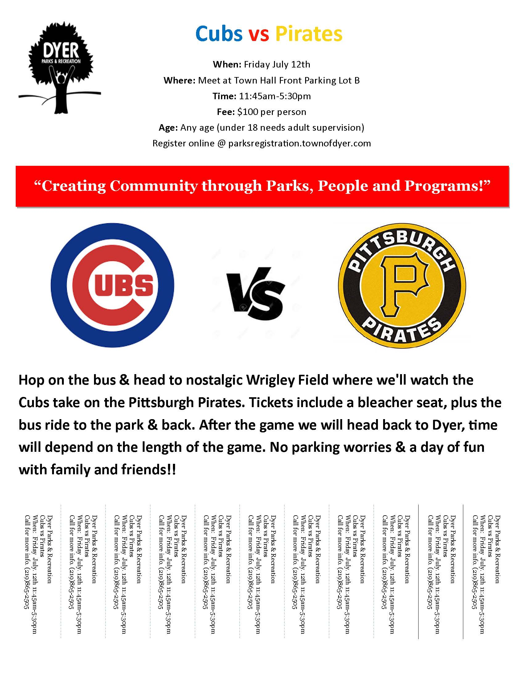 Cubs Game Flyer for Dyer Parks and Rec