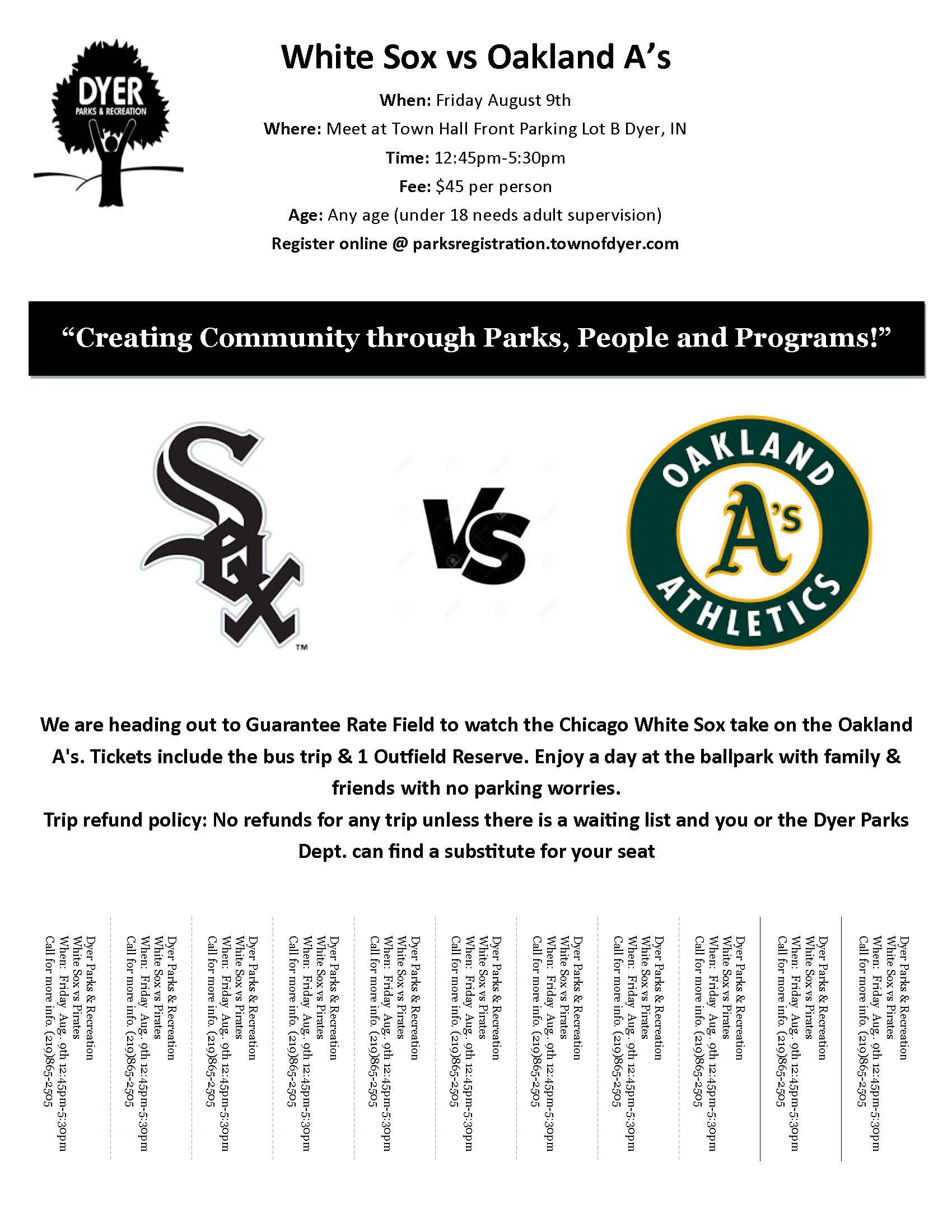 Sox Game Flyer for Dyer Parks and Rec