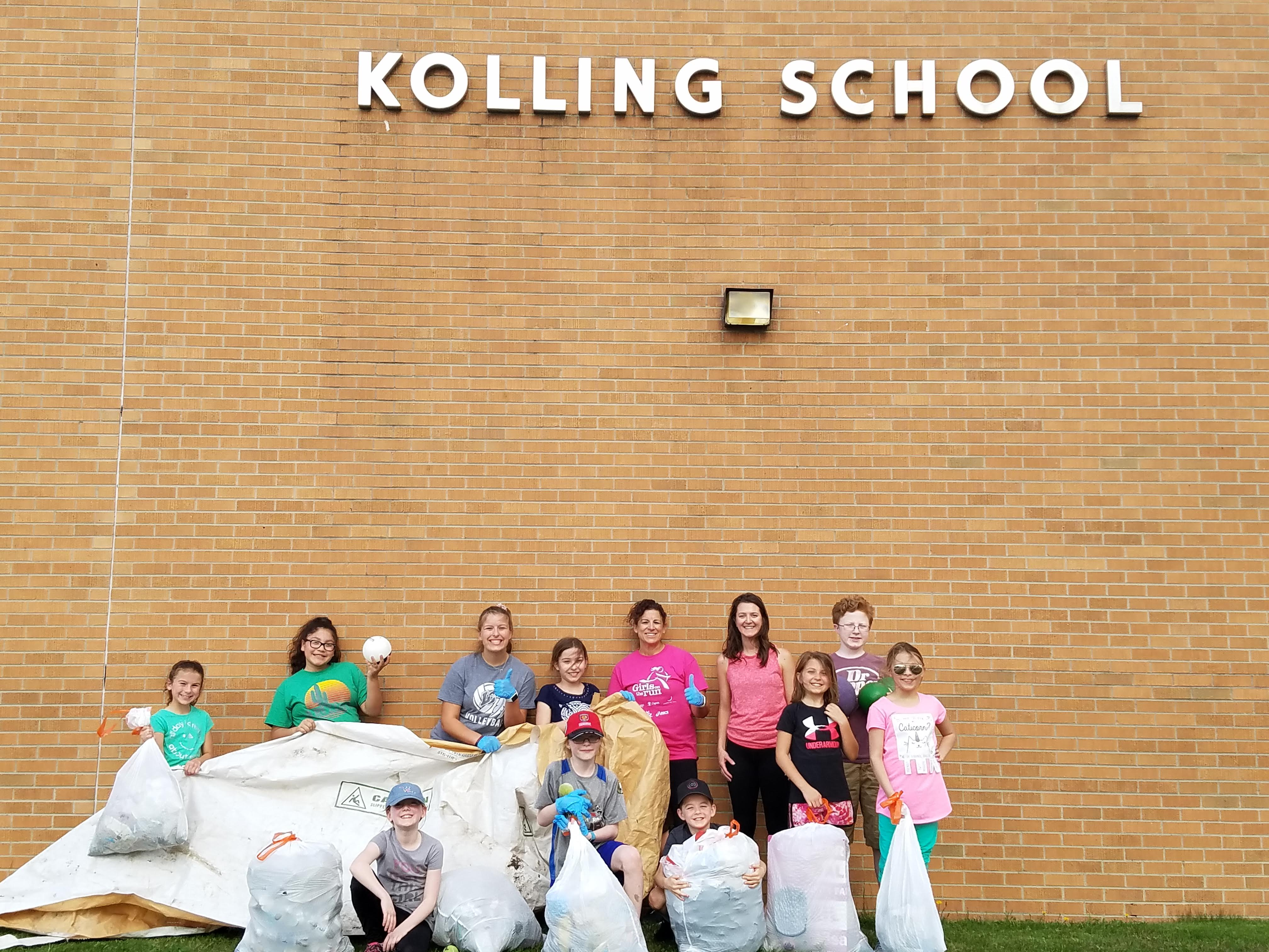 Student-led Earth Day Clean-up at Kolling Elementary.