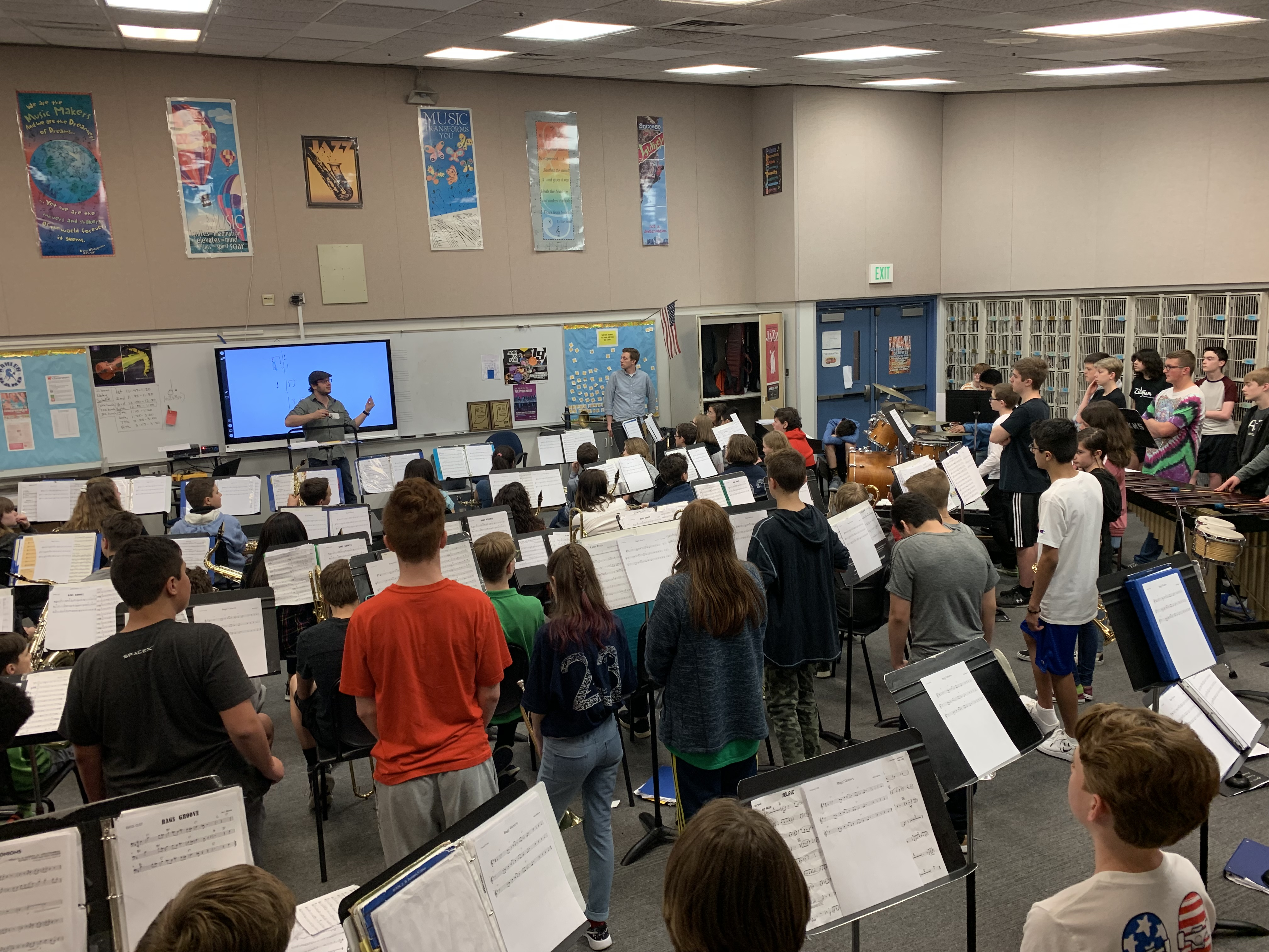 In preparation for the Jazz showcase, middle school jazz bands received special instruction from professional musicians Andy Sutton and Michael Nearpass.