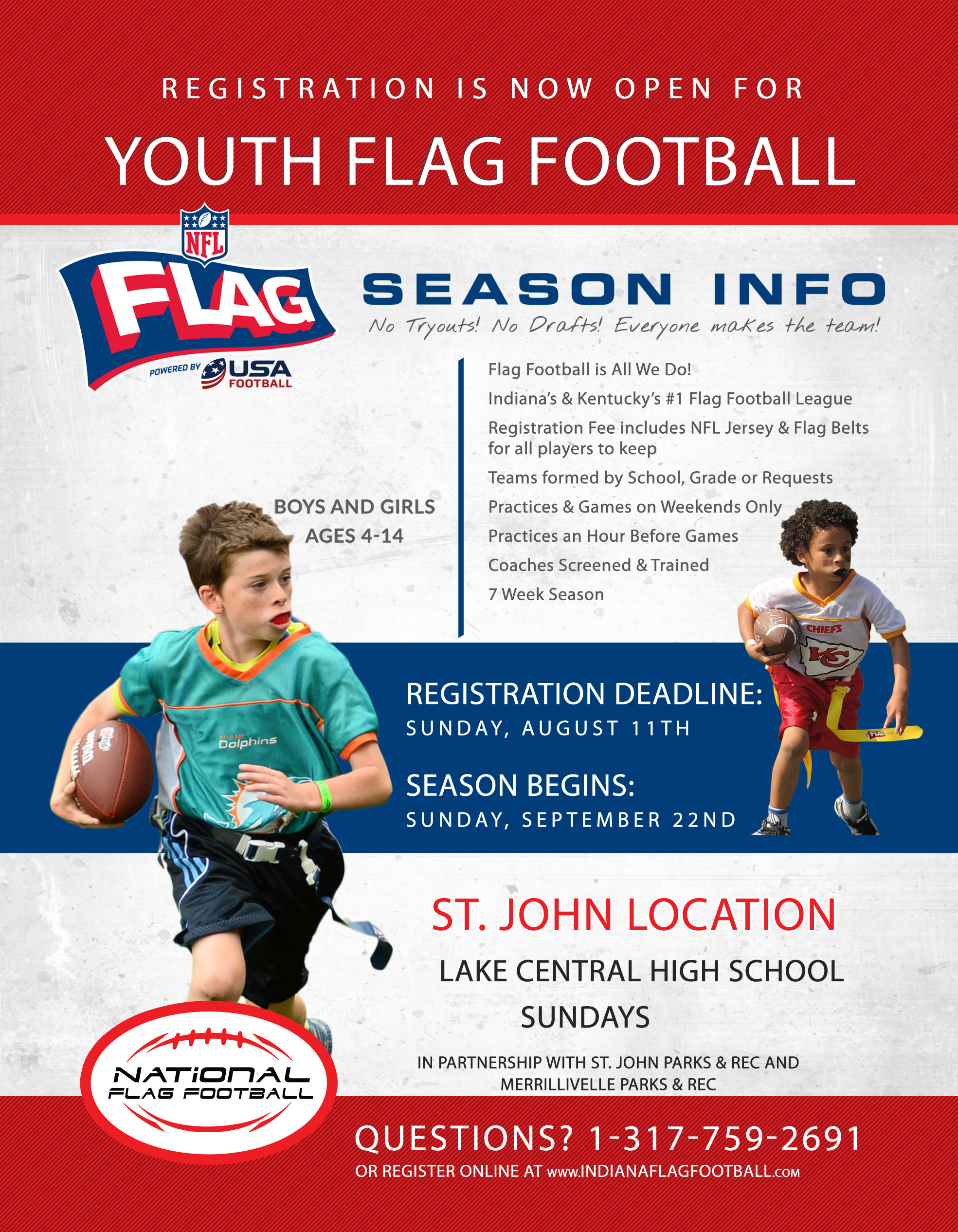 Youth Flag Football Registration Flyer