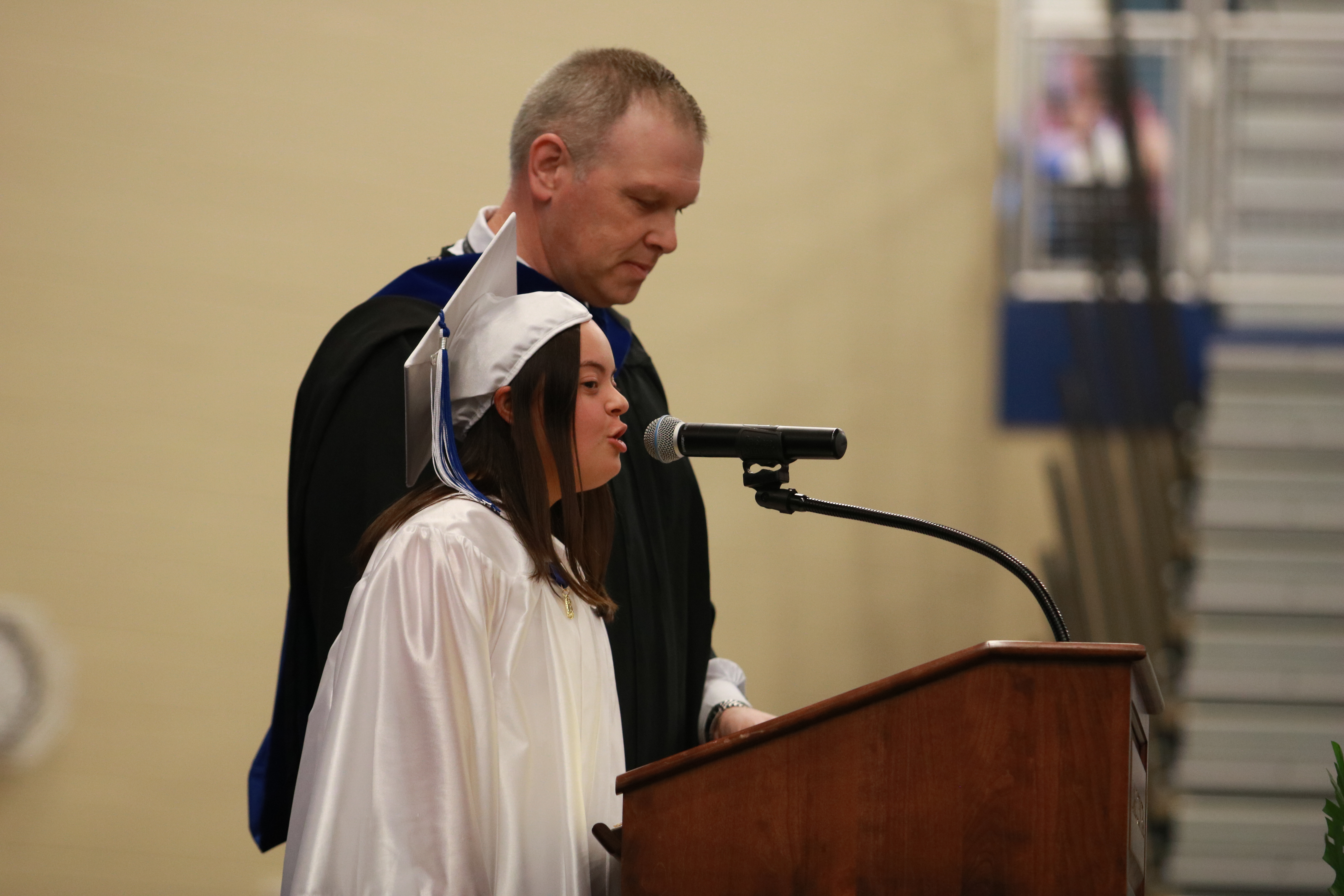 Olivia Longo along with Mr. Begley greeted the class of 2019 at the beginning of the graduation ceremony on June 2nd.