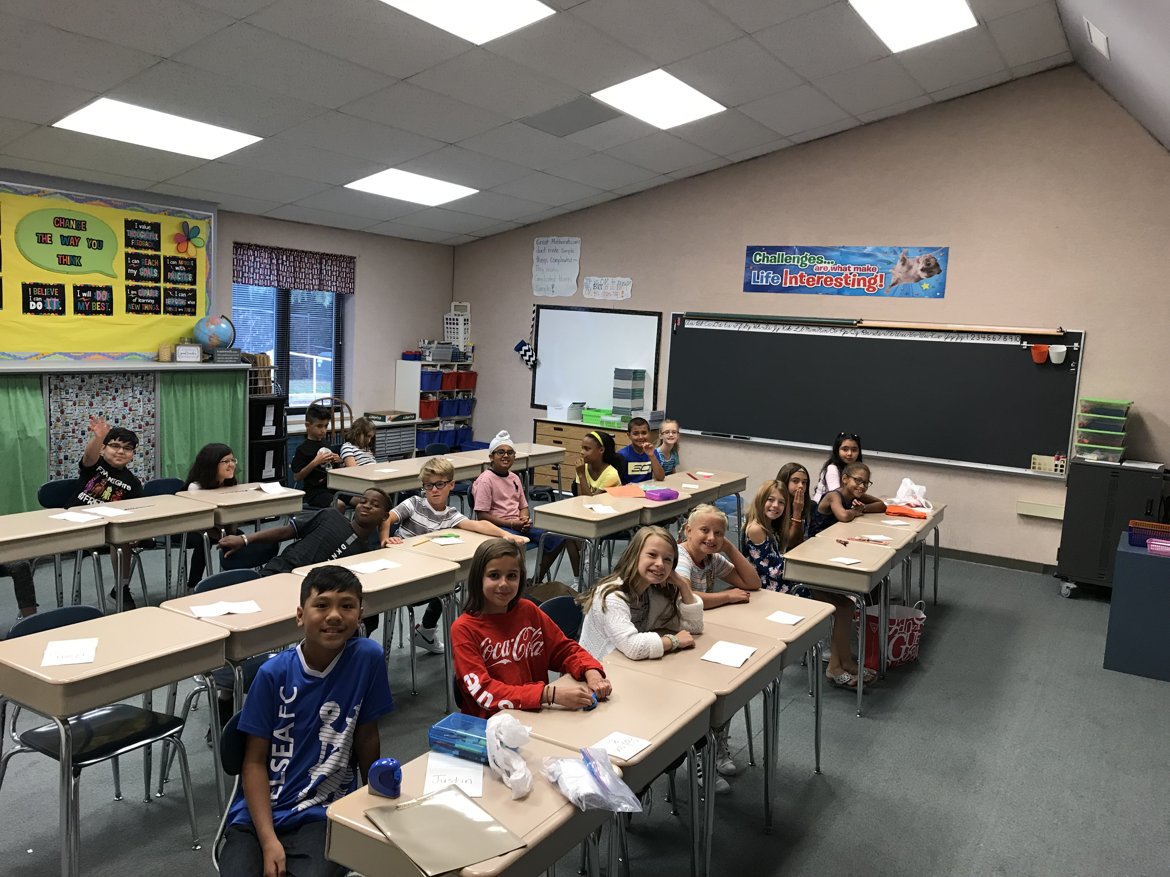 Mrs. Dvorscak's 4th grade is all smiles on the first day of the 2019-20 school year.