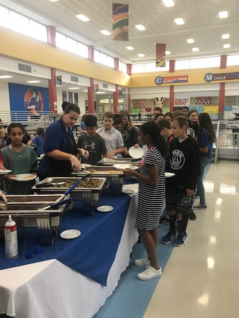 Clark Middle School welcomes 61 new students with breakfast, bingo, and food. 19 student ambassadors helped throughout the breakfast! Great morning!