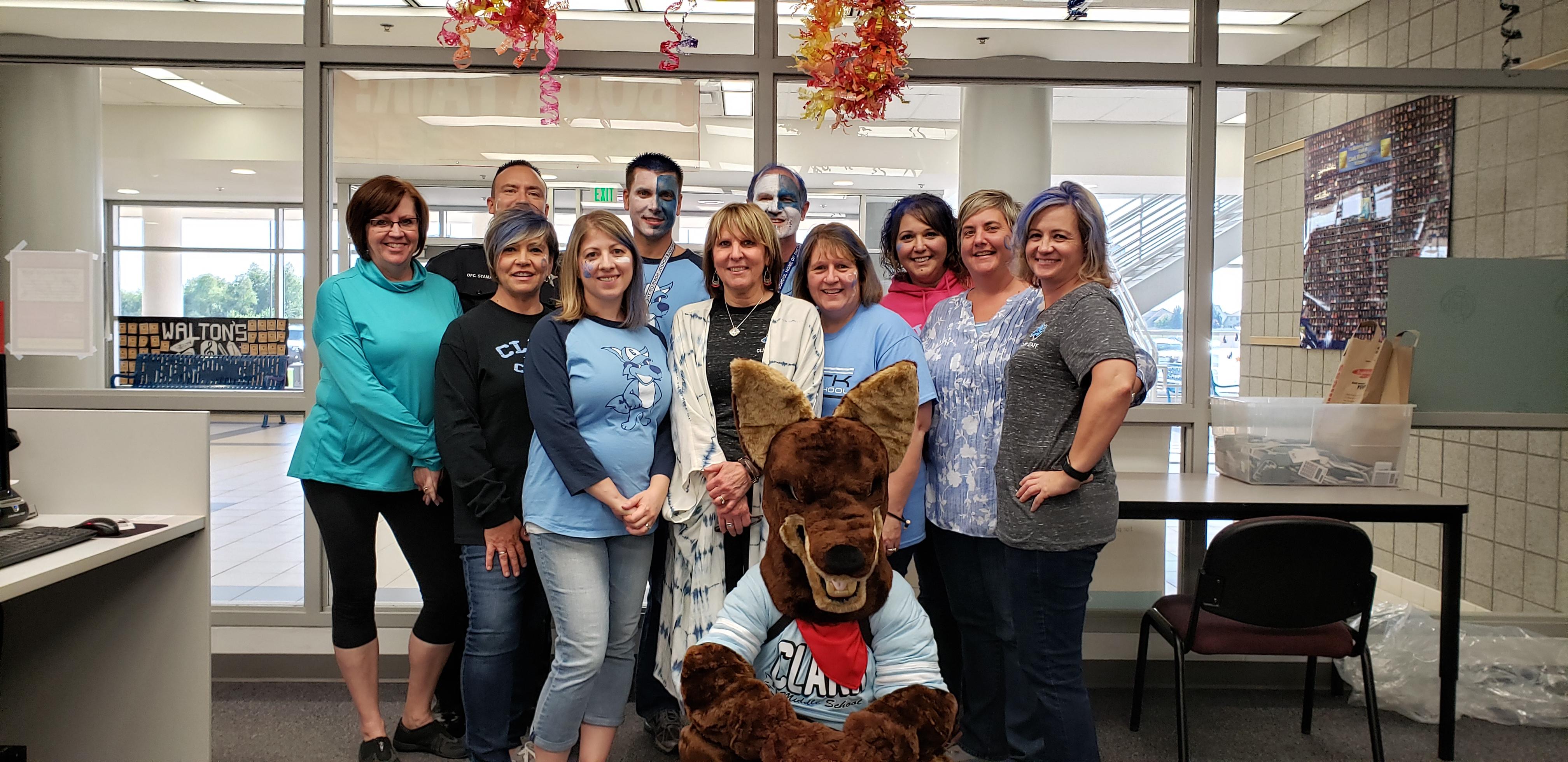 Clark Middle School Office Staff showing their school spirit!!!