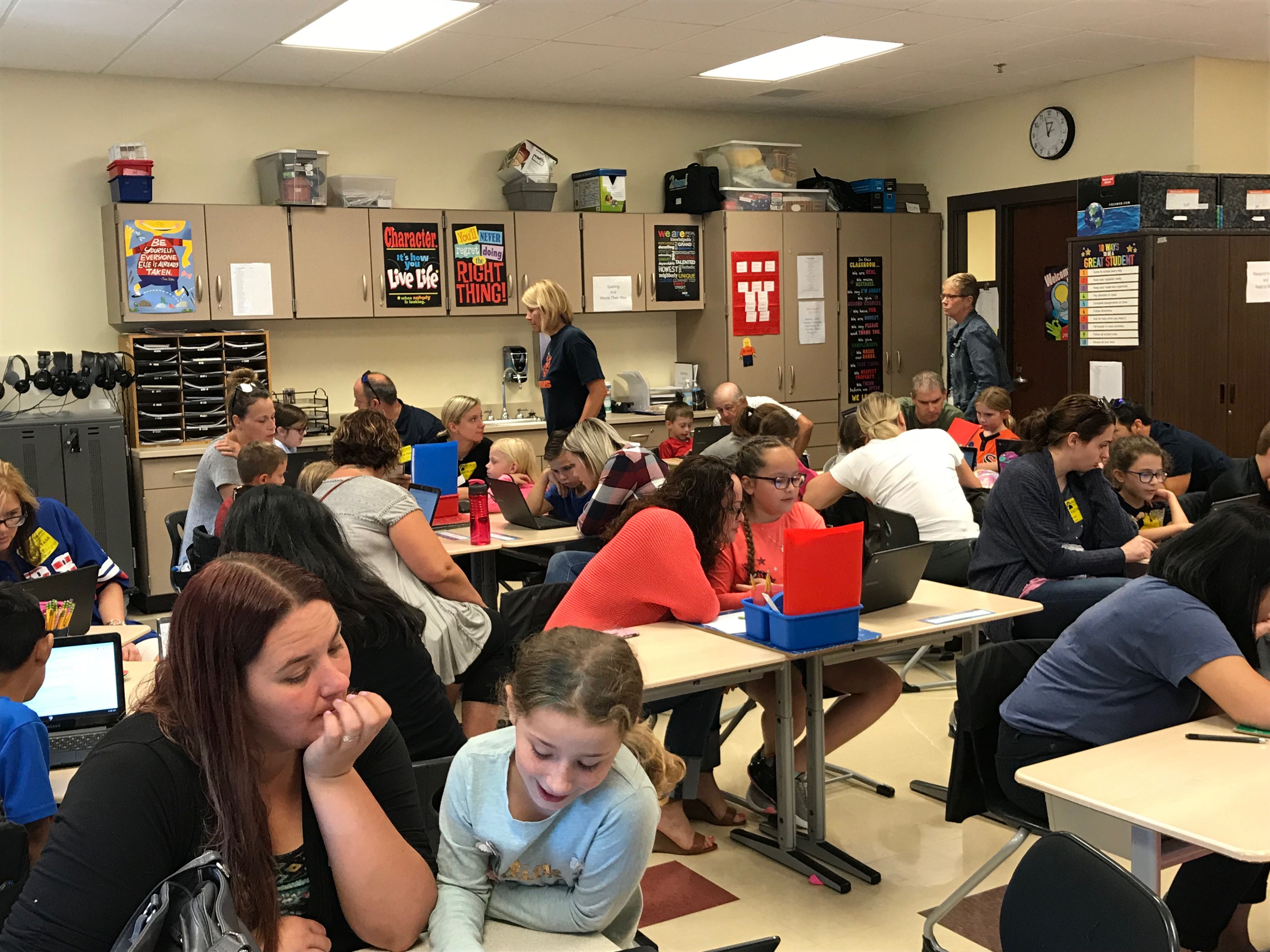 """Protsman Elementary 3rd grade teacher, Mrs. Webber invited parents in for a special language arts lesson in a """"side by side"""" demonstration and learning activity on September 26, 2019."""
