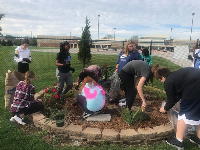 The Ecoteens did a fall clean up of our memorial garden, and planted a few new lillies.