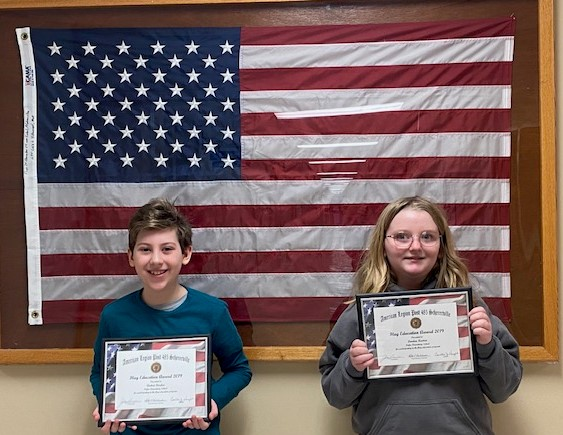 Fourth grade students, Andrei Dordea and London Keaton received a certificate and an American Flag that was flown over the Capitol Building in Washington DC on January 14th. They were awarded this honor by the American Legion Flag Education class they participated in with their fourth grade classes.