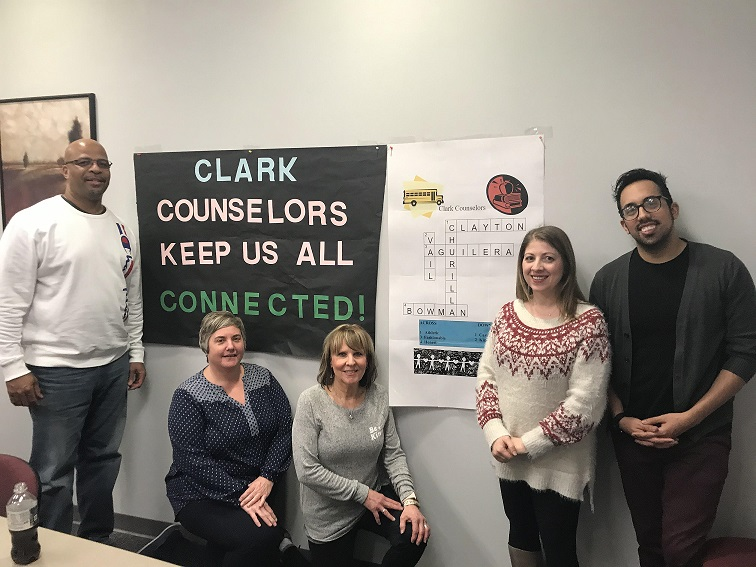 Clark staff members treated their counseling group to lunch as a way to say thanks during National Counselors Week 2020.