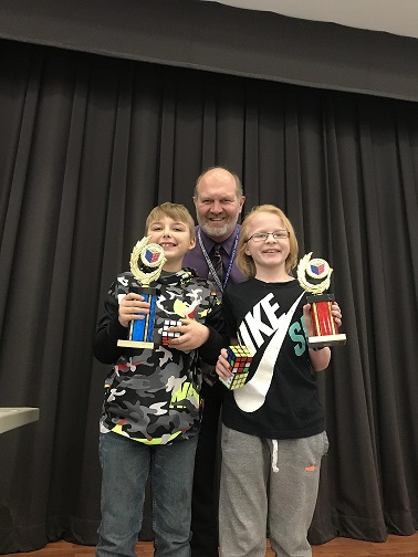 Congratulations to Dylan Bielecki and Myles Kiechle. Dylan won the 5th grade Rubik's Cube Challenge and Myles was runner-up. Great job!