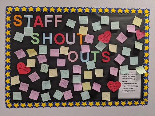"""Clark Middle School's new """"Staff Shout Out"""" board has become a huge success. Staff members are encouraged to leave a note of appreciation or kind words to other staff members."""
