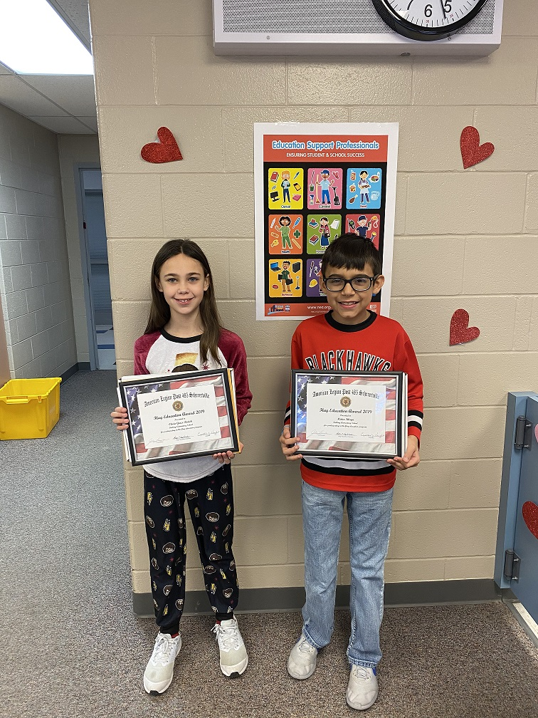 Olivia Barsich and Mateo Kluga are the Kolling Winners of the American Legion Flag Essay Contest.
